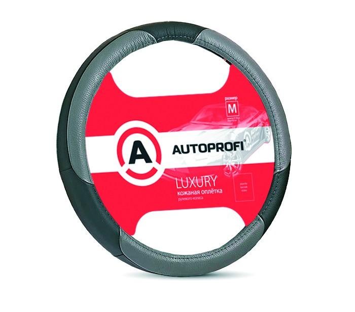 оплетка руля auto standart сasual black м 37 39см Аксессуары для автомобиля Autoprofi Оплётка руля Luxury размер М AP-1010