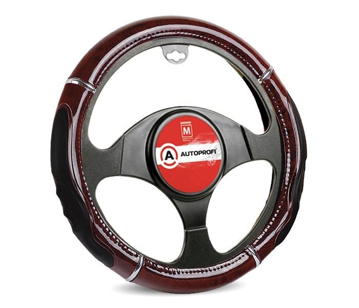 Аксессуары для автомобиля Autoprofi Оплётка руля со вставкой под красное дерево размер М GL-1025