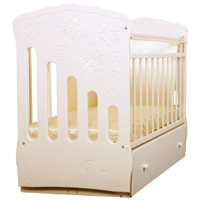 Детская кроватка Островок уюта Бабочки маятник поперечный
