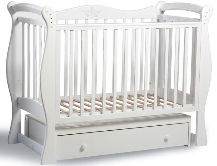 Детская кроватка Baby Luce Лучик универсальный маятникЛучик универсальный маятникДетская кроватка Лучик универсальный маятник - качественная кроватка для детей от рождения. Изготовлена в классическом стиле, поэтому подойдет под любой интерьер.  В технологии используются только гипоаллергенные лаки и эмали.  Для малыша предусмотрено особое расположение элементов ограждения кроватки, закругленные углы и безопасная краска, которая не повредит здоровью малыша даже при «пробе на зуб». Мама оценит возможность легко и просто опустить боковину на 15-17 см, без лишних усилий укачать крошку. Кроватки производства Baby Luce комплектуются выдвижными ящиками для белья и все необходимое всегда есть под рукой в прямом смысле слова.   Есть накладка на поручни детской кроватки (грызунок), которая защищает зубки малыша и растущий организм от воздействия лака и краски   Широкий спектр цветовой гаммы. Маятник с двойным фиксатором. Инкрустация стразами. Боковые накладки из пищевого пластика. Боковое ограждение: возможность быстрого снятия, опускается, средние палочки - съёмные. Ящик: закрытый, глубокий, с бесшумными направляющими. Решётка подматрасника в два уровня. Качественная обработка древесины. Внутренние размеры ложа: 120х60 см.  Материал: массив кавказского бука. Качание: универсальный маятниковый механизм.  Рисунок у кроваток с расцветкой Корона/Мишки расположен с обеих сторон спинки кроватки (на лицевой и на оборотной)!<br>
