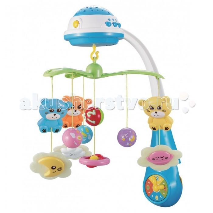 Мобиль Baby Mix Bears in the cloudsBears in the cloudsМобиль Baby Mix Bears in the clouds подходит как для спокойного отдыха малыша, так и для его активного времяпрепровождения. Модель оснащена музыкальным проигрывателем со спокойными мелодиями, ночником с мягким светом и проектором с изображением разноцветных звездочек.   Все элементы выполнены из безопасных материалов. Красочные подвесные игрушки в виде разноцветных мишек и облаков с шариками, плавно вращаются по кругу в такт музыке. Мишки расположены таким образом, что лежа на спинке малыш будет видеть их в полный рост.   Карусель не только развлекает ребенка, но и способствует развитию внимания, концентрации, координации движений, учит различать цвета и звуки. Для комфортного сна можно включить слабый свет ночника или проектор, создающий на стене фигуры из разноцветных звездочек.   Особенности: мобиль воспроизводит спокойные мелодии контроль звука проектор и ночник способствуют быстрому засыпанию универсальная система фиксации подходит для любых кроваток, манежей за игрушками легко ухаживать на ножке, игрушка в виде часов работает от 3-х батареек типа АА (не входят в комплект).<br>