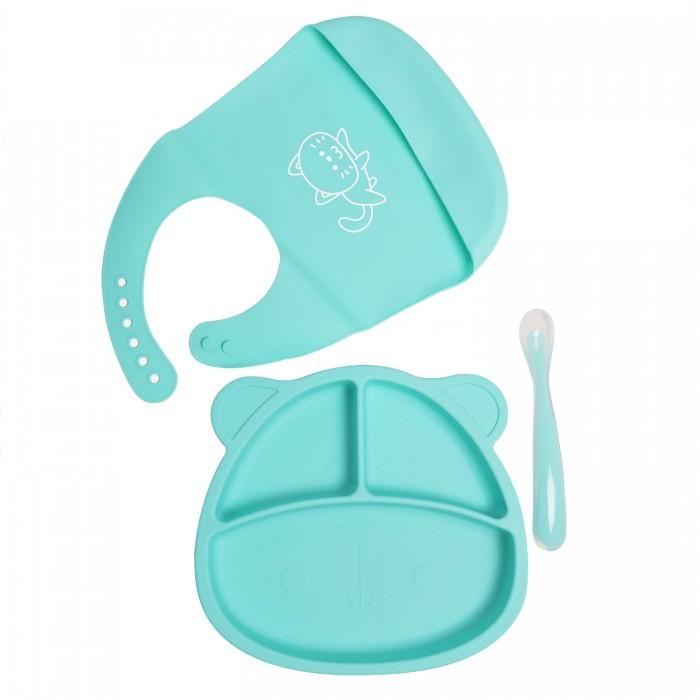 Baby Nice (ОТК) Комплект детской посуды из силикона: тарелка с ложкой и нагрудник Baby Nice (ОТК) Комплект детской посуды из силикона: тарелка с ложкой и нагрудни