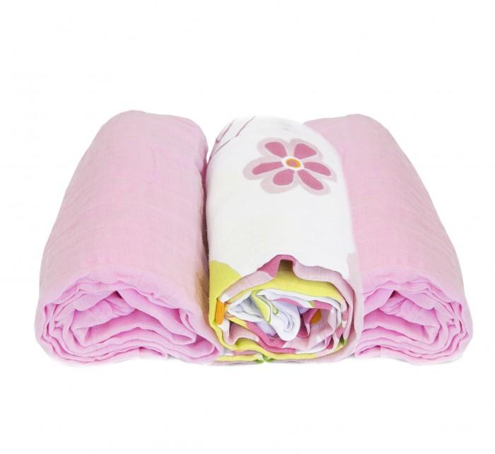 Пеленки Baby Nice (ОТК) набор Цветы муслиновые 115х115 см 3 шт.