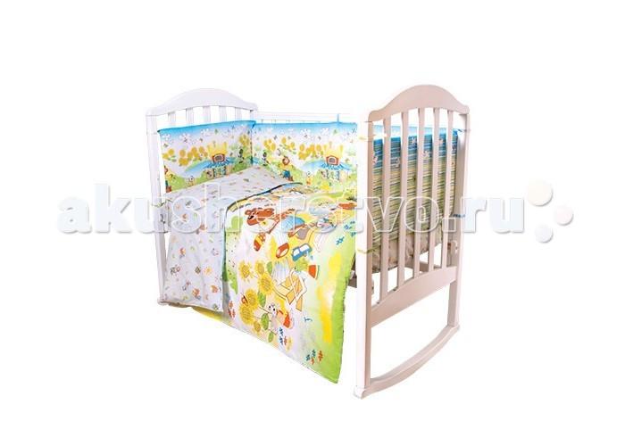 Комплект в кроватку Baby Nice (ОТК) Теремок (6 предметов)Теремок (6 предметов)Комплект в кроватку Baby Nice (ОТК) Теремок (6 предметов) по мотивам русских сказок.   Ткань прошла специальную обработку по умягчению, что сделало её невероятно мягкой и приятной к телу. Для окрашивания и нанесения рисунка использовались гипоаллергенные красители, устойчивые к истиранию и многочисленным стиркам.   В комплекте: простынь: 112 х 147 см пододеяльник: 112 х 147 см  наволочка: 40 х 60 см  борт: (120 х 35 - 2 шт., 60 х 35 - 2 шт.) одеяло: 110 х 140 см подушка: 40 х 60 см.<br>