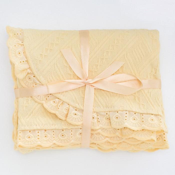 Одеяло Baby Nice (ОТК) вязанное с рюшами 80х100 см K0150 фото