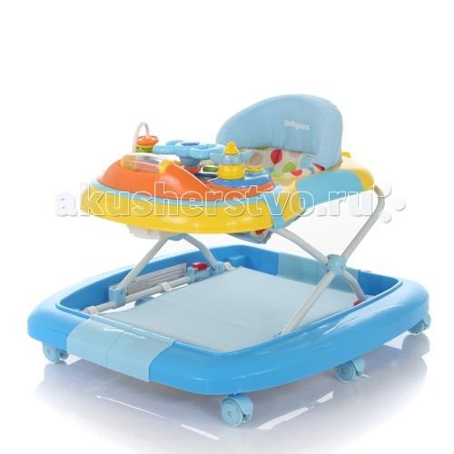 Ходунки Baby Care BluesBluesBaby Care Blues - детские ходунки с возможностью трансформирования в качалку. Под ножками малыша находится съемный коврик-батут.   Мягкое и комфортное сидение регулируется по высоте. Съемная игровая панель с музыкальным блоком позволяет использовать лоток в качестве столика. Панель может быть использована также как самостоятельная игрушка. Силиконовые колеса не повреждают напольное покрытие.  Особенности: 6 силиконовых колёс 3 уровня высоты съёмная игровая панель текстиль можно снять для стирки рекомендовано для детей от 6 месяцев до 18 месяцев максимальная нагрузка на ходунок до 12 кг игровая панель со звуком и музыкой трансформируется в качалку  Вес ходунка: 5.1 кг. Размер ходунка в разложенном состоянии: 66х74х52 см. Размер ходунка в сложенном состоянии: 66х74х26 см.<br>
