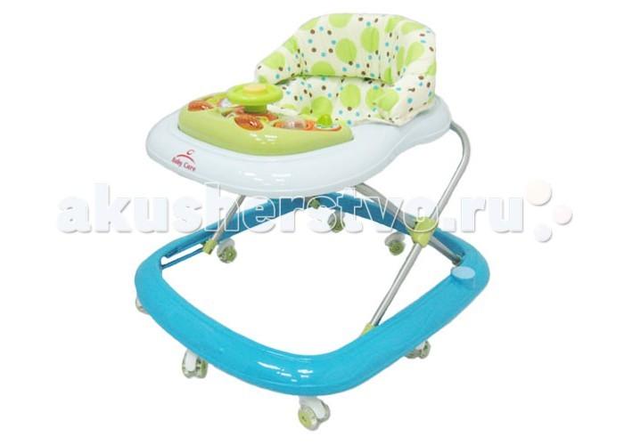 Ходунки Baby Care FlipFlipСиликоновые колёса.  Мягкое сиденье.  Съемная музыкально-игровая панель.  Регулируемая высота от пола.  Полностью съемная для обивка (для удобства стирки).    Вес 3 кг   Размеры упаковки 54 х 58 х 10 см   Вес упаковки 3.5 кг<br>