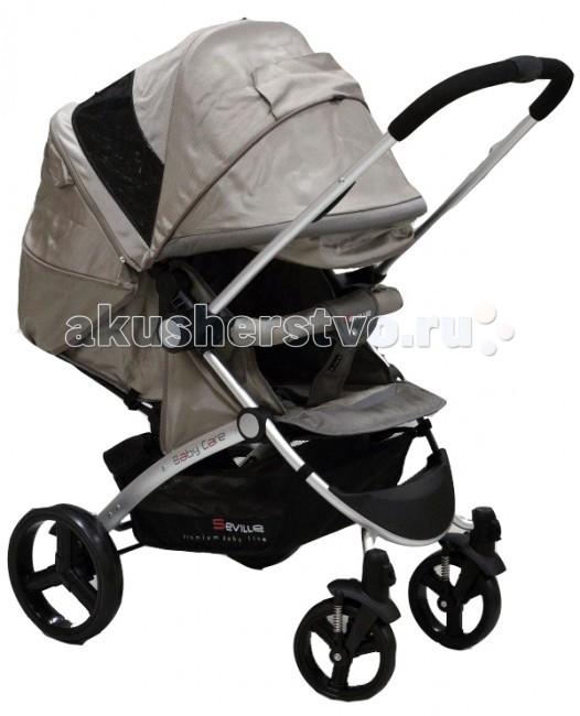 Прогулочная коляска Baby Care SevilleSevilleBaby Care Seville – стильная современная коляска с перекидной ручкой. Безопасности и комфорту ребенка в этой модели отведено особое место. Глубокое просторное сидение можно практически полностью закрыть большим капюшоном, который опускается до бампера. Также капор оснащен большим смотровым окном для контроля за ребенком. Спинка регулируется механически и плотно фиксируется, а благодаря выдвижной подножке можно получить действительно большое спальное место. При необходимости можно отстегнуть заднюю часть капюшона, оставив только москитную сетку.   Коляска складывается «книжкой» и фиксируется в сложенном состоянии, что очень удобно для транспортировки и хранения.  Особенности:  облегченная алюминиевая рама; перекидная ручка позволяет ребенку сидеть как лицом к дороге, так и лицом к маме; большой капюшон с двумя смотровыми окошками может опускаться до бампера; глубокое просторное спальное место; механическая регулировка наклона спинки. Спинка раскладывается до горизонтального положения; выдвижная подножка удлиняет спальное место; передние колеса плавающие с возможностью фиксации; стояночный тормоз на задней оси; съемный поручень с мягкой обивкой; 5-точечные ремни безопасности; коляска складывается книжкой, компактан в хранении и транспортировке.   Комплектация:  дождевик; чехол на ноги.   Особенности:   Диаметр колес: передние – 17 см, задние – 24 см Тип колес: пластиковая имитация; одинарные Механизм складывания:книжка Ширина колесной базы: 58 см Вес:10,5 кг  Размеры:  ширина сиденья: 34см глубина сиденья: 28см длина спального места: 83см<br>