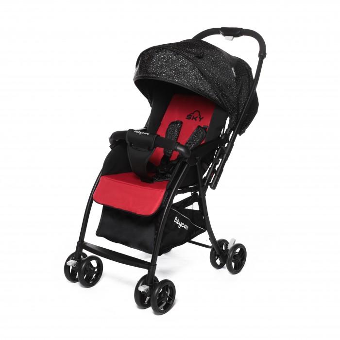Прогулочная коляска Baby Care SkySkyПрогулочная коляска Baby Care Sky с перекидной ручкой, легкая и маневренная. Коляска легко и удобно складывается, благодаря чему занимает очень мало места.  Съемный бампер с мягкой обивкой, отстегивающийся с одной стороны. Спинка регулируется плавно с помощью ремней. В комплекте есть чехол на ножки и корзинка для покупок. Коляска имеет 5-ти точечные ремни безопасности. Может стоять в сложенном состоянии и складывается одной рукой.  Особенности: алюминиевая рама плавающие передние колеса с ручной фиксацией 5-ти точеный ремень безопасности бампер с мягкой обивкой отстёгивается с одной стороны спинка регулируется при помощи ремня регулируемая подножка ножная тормозная система амортизация передних колёс окошки в капюшоне  перекидная родительская ручка коляска может стоять в сложенном состоянии коляску можно сложить одной рукой Размеры и вес: диаметр колес: передние – 13.4 см, задние — 13.4 см тип колес: двойные механизм складывания: книжка вес: 4.7 кг  ширина сиденья: 34 см размер корзины: 31 х 31 х 18 см размер в разложенном виде: 83 х 47 х 98 см размер в сложенном виде: 30 х 47 х 93 см вес упаковки: 6.2 кг размер упаковки: 46 х 21 х 73 см<br>