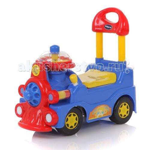 Каталка Baby Care TrainTrainBaby Care Train - каталка в виде паравозика. Поворотный музыкальный руль оснащен рычажками, при включении которых раздается звуковой сигнал. Удобная ручка позади ребенка служит не только для управления, но и поддерживает спинку малыша.   Каталка проста в применении. Ребенок отталкивается ножками и крутит руль.   Каталка развивает и закрепляет навык самостоятельной ходьбы, совершенствует координацию движений и улучшает ориентацию в пространстве.  Материал: высококачественная экологически чистая пластмасса.  Размер: 57х27х51 см. Вес: 2.6 кг. Рекомендуется от 1 до 4 лет.<br>