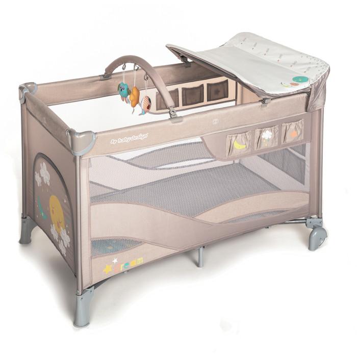 Манеж Baby Design Dream кроватьDream кроватьBaby Design Dream это многофункциональная детская кровать - манеж, которая предназначена как для новорожденных грудничков, так и для подрастающих детей. Возрастной диапазон колеблется от нуля до трех лет.  Особенности:  Кровать-манеж Baby Design DREAM имеет 2 уровня высоты матрасика. В комплекте удобный пеленальный столик, который соответствует новым европейским стандартам безопасности, есть возможность крепления его сбоку кроватки. Манеж легкий в уходе, т.к. выполнен из полиэстера. Имеет боковой карман для игрушек и мелочей. Есть боковой лаз на молнии. Легко собирается и складывается в чехол- сумку. Две ножки имеют колеса с тормозом (для легкости перемещения).  Размеры кроватки в разложенном виде ДхШхВ: 126 см/67 см/74 см  Размеры кроватки в сложенном виде ДхШхВ: 85 см/34 см/23 см Размеры матрасика ДхШхВ: 120 см/60 см Вес:12,5 кг Максимально допустимый вес ребенка: 15 кг<br>
