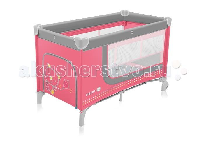 Манеж Baby Design кроватка Holidayкроватка HolidayМанеж а Baby Design Holiday – это детская кроватка, которую удобно брать с собой в поездки, в гости, на дачу. В Holiday малышу одинаково комфортно спать или проводить время за играми. Она весит чуть больше 10 кг, и компактно складывается в сумку, так что положить ее не составит особого труда. Манеж-кроватка отвечает стандарту безопасности EN 716, система second lock предотвращает самопроизвольное складывание манежа. 2 колесика помогают переместить манеж поближе к маме, не царапая при этом пол. Ткань –прочная, простая в уходе.  Уровень дна кроватки Baby Design Holiday выставляется в одном из двух положений: верхнее удобное для малышей, которые еще не умеют сидеть самостоятельно, оно позволяет маме приложить меньше усилий, чтобы положить малыша в кроватку. Когда ребенок подрастет, дно можно опустить на обычный уровень игрового манежа. По размеру в кроватку подходит любой детский матрас размера 120 х 60 см Для использования в качестве манежа окажутся очень кстати сетчатые сетки, которые позволяют маме и ребенку видеть друг друга, и боковой лаз, застегивающийся на молнию. С его помощью детки постарше смогут залезать в манеж с игрушками самостоятельно.  Для важных детских мелочей предусмотрен боковой карман.  Особенности: Возраст: 0-3 Размер в разложенном виде: 125 х 66 х 86 см Размер в сложенном виде: 78 х 22 х 22 см Размер спального места: 120 х 60 см Регулировка высоты спального места: 2 положения. Вес: 10,9 кг Аксессуары: сумка Колеса: 2 Трансформер: нет<br>