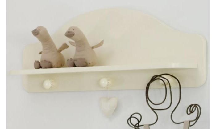 Baby Expert Полка-вешалка AkoyaПолка-вешалка AkoyaПолка-вешалка Baby Expert Akoya отлично впишется в интерьер детской комнаты. На ней можно разместить и детские вещи, и любимые игрушки вашего ребенка.  Особенности: - материал - массив бука, краска на водной основе (гипоаллергенная, нетоксичная) - три декоративных крючка с украшением из настоящего жемчуга - полочка для шапочек и игрушек - размеры (ДхВхГ) 80 см х 40 см х 16 см<br>