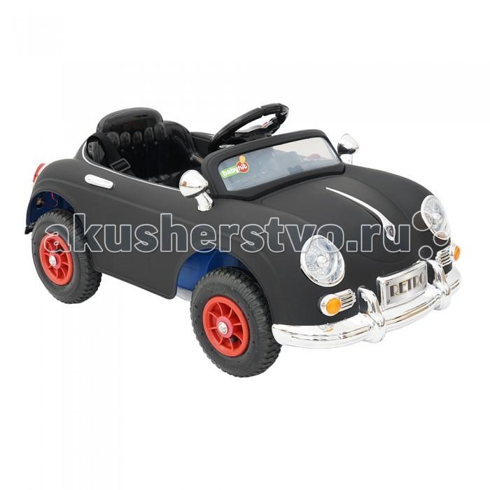 Электромобиль BabyHit RetroRetroЭлектромобиль BabyHit Retro оснащен световыми и звуковыми эффектами, что придется ребенку по душе. Автомобиль устойчивый, безопасный и прост в управлении, поэтому ребенок от трех лет легко с ним справится и получит массу удовольствия от поездки.  Особенности электромобиля Babyhit Retro: Для детей в возрасте от 3-х до 7 лет Надувные колеса Два редуктора/электродвигателя мощностью 20 Вт каждый Два аккумулятора 6В/4.5Ач Максимальная скорость 6 км/ч Звуковые и световые эффекты, МP3 Пульт дистанционного управления Открывающиеся двери Вес: 12 кг Максимальная нагрузка - 25 кг.  Размер электромобиля - 97 х 53 х 49 см.<br>
