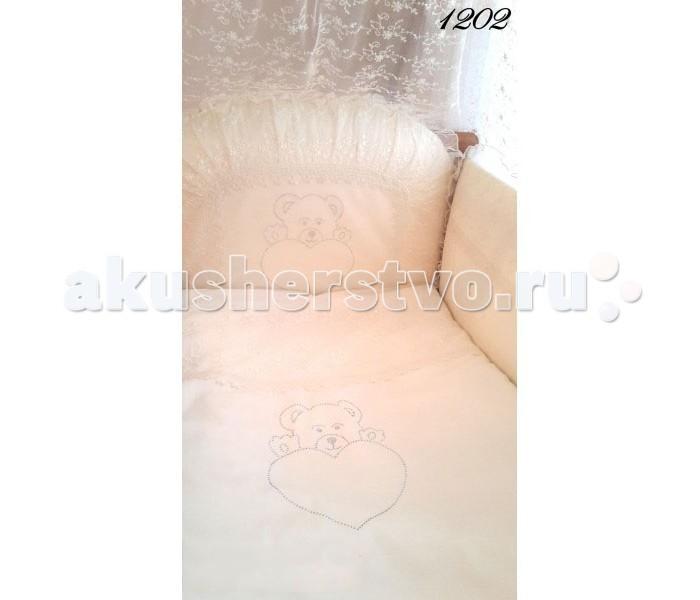 Комплект в кроватку Baby Naeela 1202 (7 предметов)1202 (7 предметов)Классического стиля очень комфортный комплект постельного белья для детской кроватки, который поможет заснуть вашему малышу с хорошим настроением, а мягкость и комфорт самого постельного белья сделают его сон спокойным и безопасным.   Ткань: 100% хлопок, батист, котон, наполнитель 100% Hollofil allerban (антиклещевой, антибактериальный, противогрибковый)   Борт: материал верх 100% хлопок, наполнитель 100% Hollofil allerban (антиклещевой, антибактериальный, противогрибковый)  Комплект состоит из 7 предметов: Бортик 40х360 см, съемный чехол, наполнитель холлкон, пл.500г/м2 Пододеяльник 140х110 см Наволочка 50х40 см Одеяло 140х110 см. Наполнитель: холлкон 100%, холлкон , плотность 200г/м2 Подушка 50х40 см. Наполнитель: холлкон 100%, холлкон . Простыня 140х110 см Балдахин 400х180 см<br>