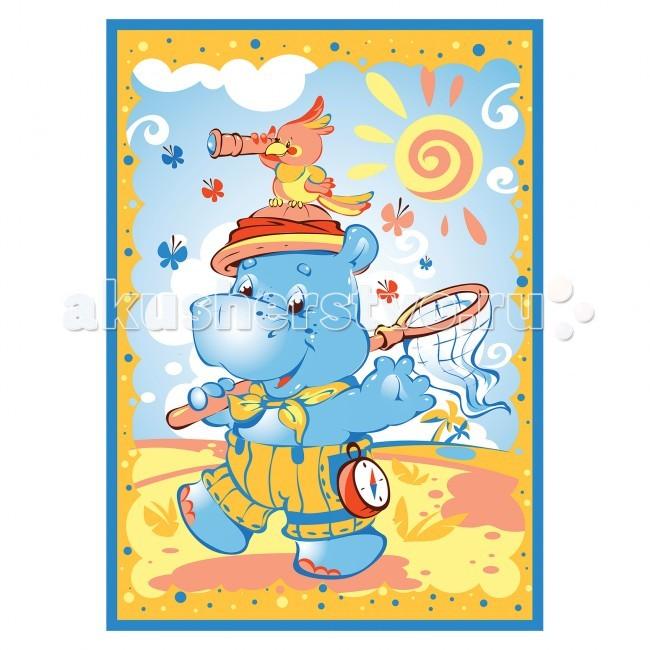 Постельные принадлежности , Одеяла Baby Nice (ОТК) байковое Бегемот и попугай 100х140 см арт: 63873 -  Одеяла
