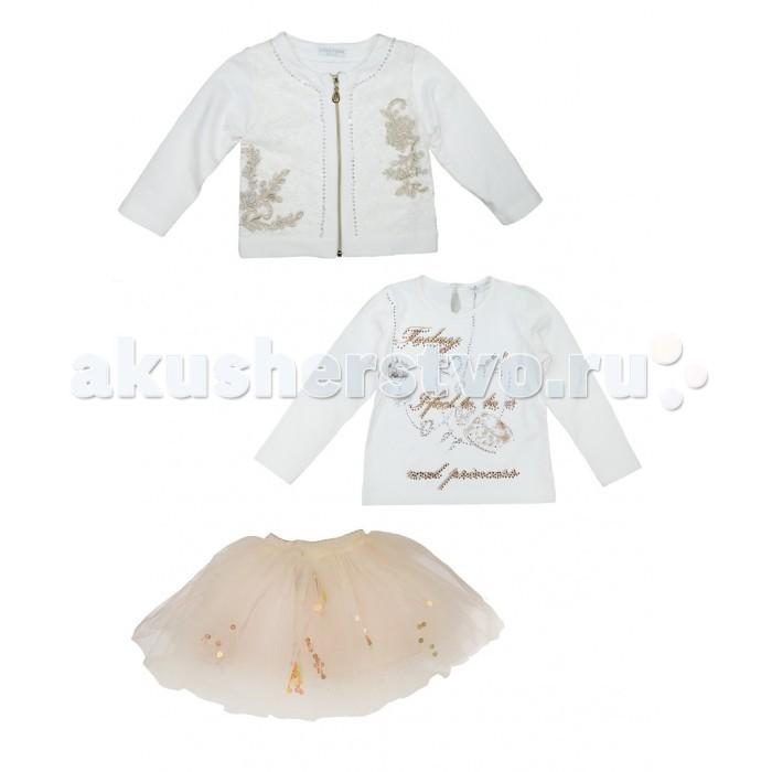 Baby Rose Комплект для девочки 2063Комплект для девочки 2063Комплект для девочки Baby Rose состоит из трёх предметов одежды: жакет, толстовка, юбка.  Нарядная пышная юбка на хлопковой подкладке и на трикотажной широкой резинке, украшена пайетками. Толстовка из белого трикотажв украшена принтом и стразами. Жакет на молнии дополняет этот комплект и согреет в прохладную погоду. Жакет расшит стразами. Такой нарядный комплект будет уместен для любого повода.  Жакет - 85% хлопок, 10% полиэстер, 5% эластан; толстовка - 95% хлопок, 5% эластан; юбка - 80% полиэстер, 20% хлопок  Рекомендации по уходу: 30°, деликатная стирка.<br>