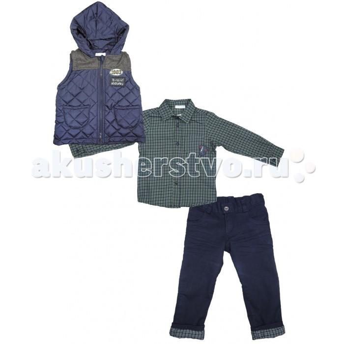 Baby Rose Комплект для мальчика 1840Комплект для мальчика 1840Комплект для мальчика Baby Rose состоит из 3-х предметов: жилет, рубашка, брюки. Все изделия этого комплекта выполнены из качественного материала привлекательной расцветки. утепленный жилет с капюшоном для прохладной погоды. Отличный вариант для создания модного образа.  Жилет 100% полиэстер; рубашка 100% хлопок; брюки 97% хлопок; 3% лайкра. Брюки на хлопчатобумажной подкладке, талия утягивается резинкой.  Рекомендации по уходу: 30°, деликатная стирка.<br>