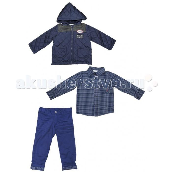 Baby Rose Комплект для мальчика 1841Комплект для мальчика 1841Комплект для мальчика состоит из 3-х предметов: куртка, рубашка, брюки. Все изделия этого комплекта выполнены из качественного материала привлекательной расцветки. утепленная куртка с капюшоном для прохладной погоды. Отличный вариант для создания модного образа.  Куртка 100% полиэстер; рубашка 100% хлопок; брюки 97% хлопок; 3% лайкра. Брюки на хлопчатобумажной подкладке, талия утягивается резинкой.  Рекомендации по уходу: 30°, деликатная стирка.<br>