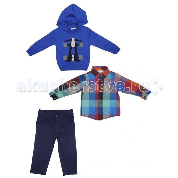 Baby Rose Комплект для мальчика 2056Комплект для мальчика 2056Комплект для мальчика состоит из 3-х предметов: свитер, рубашка, брюки. Все изделия этого комплекта выполнены из качественного материала привлекательной расцветки. Теплый вязанный свитер для прохладной погоды. Отличный вариант для создания модного образа.  Свитер 50% акрил; 50% хлопок; рубашка, брюки 100% хлопок.  Рекомендации по уходу: 30°, деликатная стирка.<br>