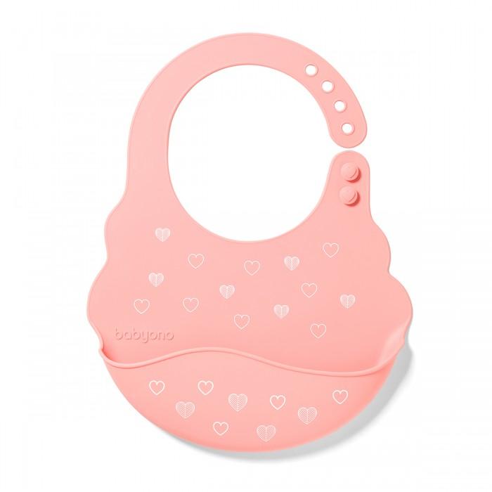 Купить Нагрудники, Нагрудник BabyOno силиконовый с регулируемой застежкой Сердечки