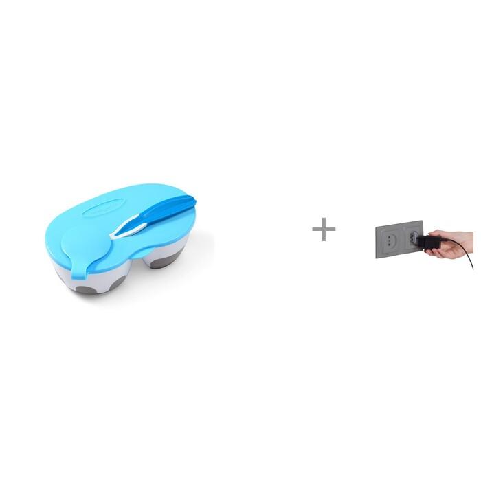BabyOno Тарелочка с отделениями и ложечкой и Заглушка для электрических розеток Baby Safety