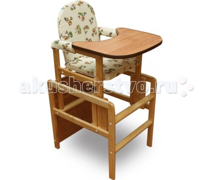 Стульчик для кормления BabyRoom КарапузКарапузСтульчик для кормления малыша Babyroom Карапуз является трансформирующейся конструкцией, которая может превратиться в небольшой стульчик и столик, за которые ребенок сможет взбираться самостоятельно. Продукция российского бренда выполнена из высококачественных материалов, полностью экологичная и безопасная.  Достоинства стульчика для кормления: Детская мебель Babyroom производится из экологичных материалов, которые даже при контакте с едой остаются безопасными для ребенка. Деревянный каркас покрыт лаком на водной основе, он не навредит ребенку даже в случае контакта с горячими поверхностями. В сложенном виде стульчик достаточно компактный. Прост и удобен в сборке. Сидение имеет мягкую обивку, которая защищена от загрязнению моющейся обивкой. Есть страховочные ручки с мягкой обивкой по бокам. Перед ребенком есть удобный столик-подносик с защитными бортиками по периметру, которые не позволяют растекаться жидкости в том случае, если ребенок что-то опрокинет. А в первые недели опрокидывать он будет много. Когда ребенок подрастет, подносик можно демонтировать, верхнюю часть стульчика демонтировать и он превратится в более компактное сидение и приставляется к основе, которая является столиком.  Вес  8 кг<br>