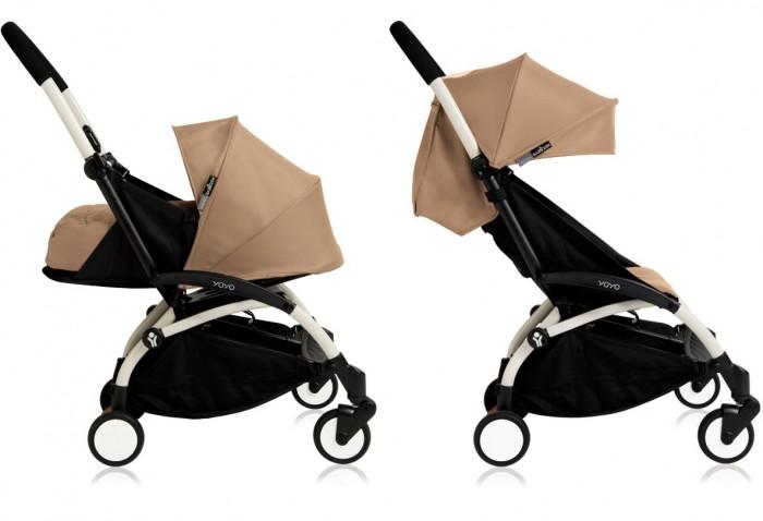 Коляска Babyzen Yoyo Plus 2 в 1Yoyo Plus 2 в 1Коляска BabyZen Yoyo Plus 2 в 1 полностью соответствует нормам и параметрам ручной клади для авиаперелетов. Она с легкостью помещается в верхний багажный отсек салона самолета.   Коляска YoYo+ предназначена для детей от полугода до четырех лет (18 кг), обладает массой преимуществ перед моделями той же весовой категории (5,5 кг).   У колясок 2016 года выпуска есть ряд отличий: возможность с помощью специальных адаптеров появилась установить на шасси коляски автокресла BeSafe iZi Go и iZi Go Modular, B&#233;b&#233; Confort Pebble и Pebble Plus, Cybex Aton Q, Maxi-Cosi Pebble и Pebble Plus; качество тканей стало еще лучше; корзина для покупок стала намного больше; максимальная рекомендуемая нагрузка на шасси выросла с 15 до 18 кг; появился кармашек для полезных мелочей на молнии в задней части капора; добавлена мягкая накладка на ремень для переноски коляски на плече; увеличена подставка для ножек.  Сиденье коляски Место малыша довольно просторное (ширина 32 см, глубина 25 см, высота спинки 45 см), с мягким цветным вкладышем. Спинка BabyZen YoYo+ многопозиционная, плавно регулируется ремешком. Раскладывается до угла наклона в 150 градусов. Капюшон коляски достаточно объемный, с дополнительным козырьком. В капюшоне есть силиконовое смотровое окошко. На задней шторке расположен кармашек для полезных мелочей на молнии.  Шасси коляски YoYo+ Каркас выполнен из ударопрочного, армированного стекловолокном материала DuPont Zytel. В сложенном виде коляска BabyZen YoYo+ занимает в два раза меньше места, чем классическая коляска-трость. Вращающиеся на 360° передние колеса диаметром 13 см автоматически фиксируются при езде по неровной дороге, обеспечивая легкий плавный ход. Эта уникальная система блокировки «Soft-Drive» запатентована компанией BabyZen. Также имеется небольшая педаль тормоза, которая не портит обувь, т.к. нет необходимости поддевать её снизу.  Ручка сплошная, поэтому коляска легко управляется одной рукой. Имеется жестка