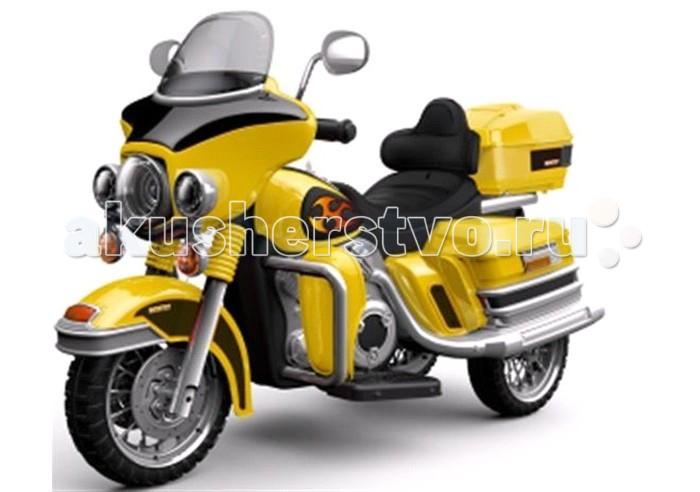 Электромобиль Bambini Super BikeSuper BikeГоночный электромотоцикл Bambini Super Bike рекомендован для детей от 3-х до 6-ти лет.  Он отличается устойчивой конструкцией и гарантирует максимальную безопасность во время езды.  Максимальная скорость до 4.5 км/ч.  Направление движения: вперед и назад.  Способ переключения - кнопка  Колеса выполнены из вспененной резины  Музыкальные и световые эффекты.  2 зеркала заднего вида.  Разъем для подключения MP3 плеера  Небольшой, но вместительный багажник для мелочей;  Максимально допустимый вес 25 кг;  Заряда аккумулятора хватает на 2 - 3 часа езды, с момента полной зарядки аккумулятора. Аккумулятор: 2x6V/7AH  Размер электромотоцикла (ДхШхВ): 115*47*45 см.<br>