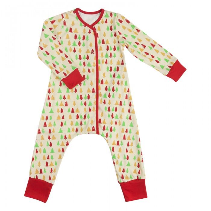 Детская одежда , Комбинезоны и полукомбинезоны Bambinizon Пижама-комбинезон на кнопках Елочки арт: 401229 -  Комбинезоны и полукомбинезоны