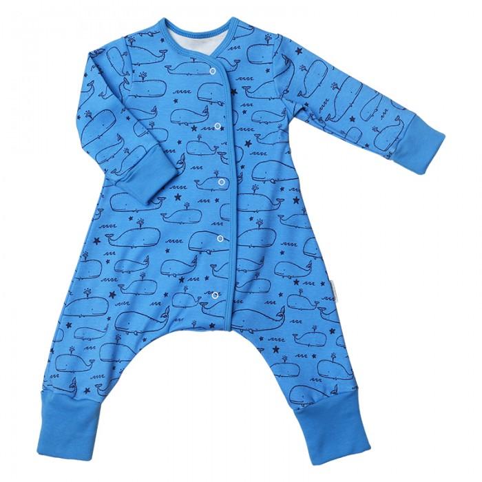 Детская одежда , Комбинезоны и полукомбинезоны Bambinizon Пижама-комбинезон на кнопках Киты арт: 401274 -  Комбинезоны и полукомбинезоны