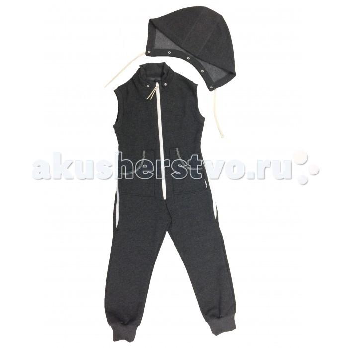 Детская одежда , Комбинезоны и полукомбинезоны Bambinizon Комбинезон из футера без рукавов ТКМД-БР арт: 326054 -  Комбинезоны и полукомбинезоны