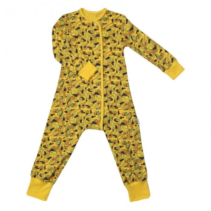 Пижамы и ночные сорочки Bambinizon Пижама-комбинезон на кнопках Джунгли пижамы и ночные сорочки bambinizon пижама комбинезон на кнопках сафари