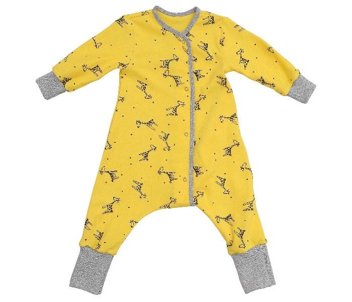 Детская одежда , Комбинезоны и полукомбинезоны Bambinizon Пижама-комбинезон на кнопках Жирафы арт: 289480 -  Комбинезоны и полукомбинезоны