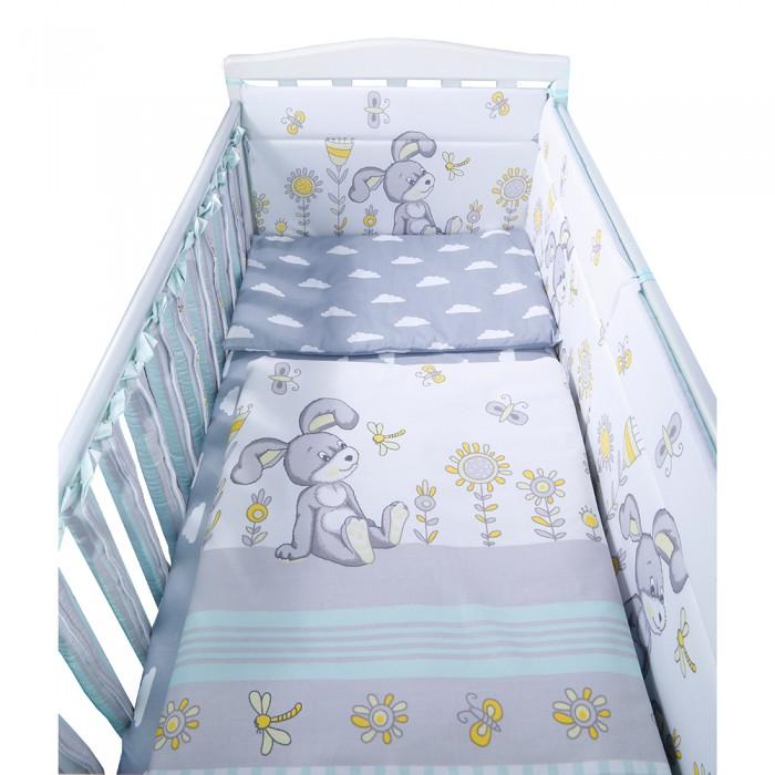 Комплект в кроватку BamBola Лето (6 предметов)Комплекты в кроватку<br>BamBola Комплект в кроватку Лето (6 предметов) отвечает самым высоким стандартам качества. Благодаря реактивному способу печати, даже после многократных стирок такое белье сохраняет вид продукции экстра-класса.  В комплект входит: бортик 40х60см - 4 шт. бортики-фенсы 13х56см - 12 шт. пододеяльник 110х140 см наволочка 40х60см простыня на резинке 90х150 см (для матраса 120х60 см) одеяло 110х140 см подушка 40х60 см Состав:  подушка, одеяло: верх - бязь, хлопок 100%, наполнитель - ПЭ 100% бортик: верх - бязь, хлопок 100%, наполнитель - ПЭ 100% пододеяльник, наволочка, простыня - бязь, хлопок 100% Возраст: 0-3 года