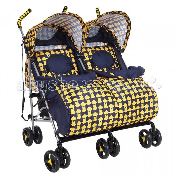 Детские коляски , Коляски для двойни и погодок BamBola Коляска-трость для двойни Клетка арт: 287242 -  Коляски для двойни и погодок