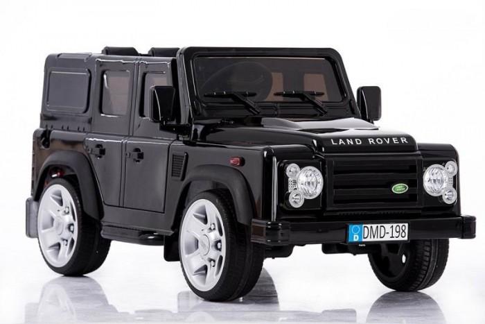 Электромобиль Barty Land Rover DefenderLand Rover DefenderНастоящий детский джип - электромобиль на резиновых колесах Land Rover Defender с дистанционным пультом управления, с хорошей проходимостью.  Лицензионный: есть надпись и эмблема Land Rover.  Максимальная нагрузка около 30 кг.  Сиденье мягкое, кожаное (эко).  Регулируемые ремни для большей безопасности.  Боковые двери и задняя дверь открываются. Багажник просторный.  2 скорости: быстрая и медленная скорость (3.5-6 км/ч). Задняя скорость 3.5 км/ч.  Высокий клиренс: зазор между днищем и дорогой. Может преодолеть до 18% наклона.  Краска на машине – нового поколения (металлик, окрашен специальными красками, как настоящий автомобиль). Заводится с ключа, при этом слышен звук стартера.  Гудок с возможностью уменьшения объема звука.  Свет от передних светодиодных фар, амортизаторы задние.  Мягкие (EVA) шины для мягкой езды (более долговечны, чем другие).  Воспроизведение музыки: вход AUX для подключения своего МР3 плеера.  Дисплей, показывающий уровень заряда батареи.  Два режима управления на выбор: ножной или с пульта дистанционного управления.  2 двигателя по 35 W; приводные задние колеса. Аккумулятор: 12V/10Ah.  Размер  132х67х60 см Вес  21 кг<br>