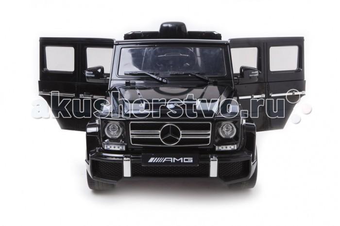 Электромобиль Barty Mercedes Benz G63 AMGMercedes Benz G63 AMGЭлектромобиль «G63 AMG» является точной копией реального авто Mercedes-Benz. Внедорожник «G63 AMG» изготовлен по лицензии компании Mercedes-Benz, поэтому данная модель с её фирменными элементами отделки, хромированными вставками и отличной комфортной ездой соответствует реалистичности на 100%.  Внешний вид электромобиля, оригинальный интерьер внутри салона обеспечат маленькому водителю настоящее эмоциональное наслаждение и радость во время движения. Потому что этот мобиль имеет ряд превосходных преимуществ:  Предназначен для детей от 3 до 8 лет Двери открываются, как в настоящем авто. Есть кнопка фиксации для защиты от открытия во время езды, пружинные амортизаторы спереди и сзади В салоне предусмотрен разъём MP3 и акустическая система (отличная возможность насладиться музыкой при езде, сам плеер-MP3 не входит в комплект) Колёса eva со стальными шасси Мультимедийное рулевое колесо Стекло лобового вида с эмуляцией дворников Фары светятся (с заднего и переднего вида) Подсветка панели приборов Зеркала для обозрения вида сзади Запуск двигателя с кнопки пуск Материал мобиля – противоударный, пластик высокого качества Электромобиль имеет высококачественную покраску с глянцевым покрытием кузова  Помимо вышеперечисленных качеств, внедорожник «Mercedes G63 AMG» имеет следующие технические характеристики:  Для безопасного движения ребёнка предусмотрены фиксирующие ремни на сидениях В комплект входит пульт д/у, которым родитель может контролировать передвижение автомобиля Мощность – 2 двигателя 35W каждый Два ведущих задних колеса Герметичный аккумулятор 12 V — 7 АH Зарядное устройство 220 В Количество скоростей – две назад (3.5 км/ч и 6 км/ч) и две вперёд (3.5 км и 6 км/ч) Звуковое сопровождение  В комплектацию с чехлом входит кожаный чехол на сидение. В остальные расцветки чехол не входит в комплект.  Электромобиль имеет габариты: 132 х 66 х 60 см.  Масса: 23 кг.  Допускается максимальная нагрузка по весу до 35 кг