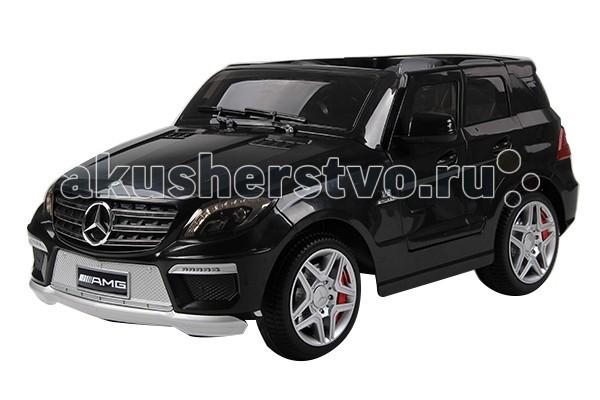 Электромобиль Barty Mersedes Benz ML63 AMG (двери открываются)Mersedes Benz ML63 AMG (двери открываются)Внедорожник «ML 63 AMG» изготовлен по лицензии компании Mercedes-Benz, поэтому данная модель с её фирменными элементами отделки, хромированными вставками и отличной комфортной ездой соответствует реалистичности на 100%. В автомобиле предусмотрено одно посадочное место.  Характеристики ML63 Mercedes-Benz AMG: Стильный дизайн, похож на джип марки Mercedes-Benz AMG Заводится с оригинального ключа Посадочных мест 1 (для детей от 3 до 8 лет) Двери открываются, как в настоящем авто. Есть кнопка фиксации для защиты от открытия во время езды В салоне предусмотрен разъём MP3 и акустическая система (отличная возможность насладиться музыкой при езде, сам плеер-MP3 не входит в комплект) Колёса резиновые со стальными шасси Мультимедийное рулевое колесо (удобный руль с музыкальными эффектами) Стекло лобового вида с эмуляцией дворников Фары светятся (с заднего и переднего вида) Зеркала для обозрения вида сзади Запуск двигателя с ключа зажигания, как в оригинальном авто (в комплекте 2 ключа) Материал автомобиля – противоударный пластик высокого качества Электромобиль имеет высококачественную покраску чёрного цвета с глянцевым покрытием кузова  Помимо вышеперечисленных качеств, внедорожник «Mercedes ML 63 AMG» имеет следующие технические характеристики:  Для безопасного движения ребёнка предусмотрены фиксирующие ремни на сидениях В комплект входит пульт д/у, которым родитель может контролировать передвижение электромобиля Эко кожаный чехол на сиденье. Мощность – 2 двигателя 30W каждый Два ведущих задних колеса 2 аккумулятора на 6V/7Аh (1.5-3 часа непрерывной езды) Зарядное устройство 220в Количество скоростей – две назад (3.5 км/ч и 6 км/ч) и две вперёд (3.5 км и 6 км/ч) Звуковое сопровождение Максимальная нагрузка 30 кг  Размеры электромобиля: 124 х 65 х 51 см Вес: 20.5 кг В комплекте: аккумулятор, зарядное устройство, пульт дистанционного управления.<br>