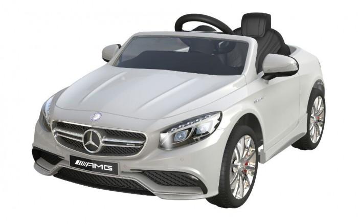 Электромобиль Barty Mersedes Benz S63 AMGMersedes Benz S63 AMGЭлектромобиль Mercedes-Benz S63 AMG - лицензионная модель популярнейшего детского седана! Именно то что нужно юному автомобилисту. Рекомендован для детей от 3 года до 8 лет.  Максимальная нагрузка: 30 кг.   Каркас изготовлен из металлических элементов, а кузов из пластика, окрашенного глянцевой краской под металлик.  Форма кузова, фар, декор отделки салона, интересные для малышей функции и представительский внешний вид. Электромобиль оснащен высокими бортами, которые не дадут ребенку выпасть из машинки.  Анатомической формы кожаное сиденье с цельной спинкой и подголовником - дополнительно оснащено поясным ремнём безопасности, который удержит водителя. Для начала эксплуатации, электромобиль заводится нажатием на кнопку старта, издаёт звук заводящегося мотора, активируются опции и функционал. Газ и тормоз совмещены в одной педали: давление создаёт ход, а отпускание, полную остановку. Автоматическая коробка передач.  Две скорости движения вперёд от 3 до 7 км/ч. и плавный разгон с места, помогут водителю привыкнуть и адаптироваться к своей новой машине, кататься без рывков и не пугаться её. При движении задним ходом скорость достигает 3 км/ч., а зеркала помогут малышу сориентироваться относительно обстановки, развернуться или припарковаться.  Система питается от аккумулятора 12V 7Ah, который обеспечивает полную работоспособность и катание до 2 часов на одной подзарядке в зависимости от условий вождения и используемых опций.  Задний привод и два мотора суммарной мощностью 70 ватт создают хорошую производительность, помогают преодолеть ухабы или небольшие подъёмы.  Пульт управления для контроля на расстоянии свыше 50 метров - родители смогут осуществлять остановку, рулить, приводить машину в движение и менять скоростные режимы.  Эргономичной формы руль с удобным охватом и покрытием против соскальзывания рук - соединен с шасси таким образом, чтобы обеспечить максимально лёгкую управляемость.  Полностью резиновые