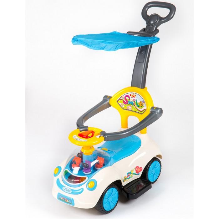 Каталка Barty Q07-4Q07-4Каталка Barty Q07-4  Каталка для детей Barty Q07-4: подходит для детей от 1 до 3-х лет  корпус выполнен из ударопрочного пластика музыкальный руль (большая кнопка - сигнал; маленькие кнопочки - 4 мелодии) съемная подножка съемная ручка-толкатель защитный бампер (съемный) стильный капюшон от солнца (съемный) удобное, широкое сиденье с высокой спинкой небольшой отсек для игрушек под сидением передние колеса поворачиваются на 360 градусов легко двигается вперед и назад<br>