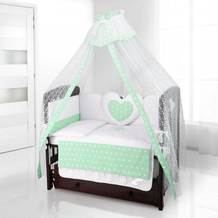 Комплект в кроватку Beatrice Bambini Cuore Stella (6 предметов)Cuore Stella (6 предметов)Beatrice Bambini Cuore Stella - это набор постельного белья в детскую кроватку стандартных габаритов. Его мягкая структура тканей и удивительно нежный дизайн придутся по вкусу вам и вашему малышу. Неповторимый дизайн с использованием большого сердца и небольших звезд понравится малышу, и он охотно будет отправляться навстречу снам.   Данный комплект идеально подходит для кроваток с габаритными размерами 120х60 и 125х65 см.  Все материалы, которые использовал итальянский производитель, проходили обязательную проверку по следующим параметрам:  соответствие экологическим и санитарным нормам отсутствие каких-либо аллергенов высокое качество и максимальная натуральность  В состав комплекта вошли такие постельные принадлежности как: подушечка правильной ортопедической формы одеяло с инновационным наполнителем, который будет поддерживать оптимальный температурный баланс у крохи наволочка и пододеяльник простынка с резиночками для фиксации съемные бортики, которые уберегут кроху от травматизма<br>