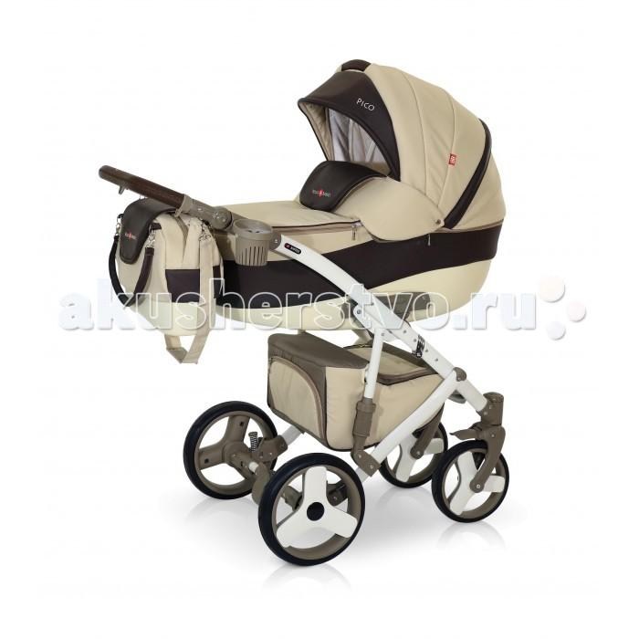 Коляска Bello Babies Pico 2 в 1Pico 2 в 1Коляска Bello Babies Pico 2 в 1 сочетающая в себе одновременно легкость управления, безопасность, стиль и максимальный комфорт.  Люлька: Легко устанавливается на раму коляски Рекомендована для детей от рождения и до 7-8 месяцев Капюшон у люльки регулируется Наклона спинки люльки также можно регулировать Утепленный чехол на ножки с высоким козырьком, который надежно защитит Вашего ребенка от непогоды, ветра и холода Непродуваемое пластиковое дно люльки Окошко в капюшоне со встроенной москитной сеткой Внутренняя отделка люльки и чехол матрасика изготовлены из гипоаллергенной ткани Удобная ручка для переноса люльки Прогулочный блок: Большой и просторный прогулочный блок можно установить как лицом к маме, так и наоборот Чтобы малышу было наиболее комфортно, спинка регулируется до наклона лежа. Поэтому ребенку будет удобно гулять в коляске и спать в ней. Для безопасности в коляске предусмотрены ремни безопасности и мягкий защитный бампер, который легко снимается. Наклон спинки в 4х положениях Подножка регулируется по высоте Рама: Рама коляски выполнена из легкого и прочного алюминия. Пружинная амортизация с возможностью регулировки жесткости Регулируемая по высоте родительская ручка Легко складывается, при этом пружинная амортизация очень прочная. Коляска маневренная, легко управляемая Передние колеса меньшего диаметра поворотные с фиксаторами А большие задние колеса позволят ездить коляске по самым труднопроходимым местам. Пневмоколеса легко снимаются В большой и просторной корзине на шасси можно сложить необходимые на прогулке игрушки и вещи. Застегивается на замок Ширина шасси 0.62 м Компактное складывание книжкой В комплекте:  сумка для мамы с пластиковым дном дождевик москитная сетка муфта зонтик накидка на ножки для люльки накидка на ножки для прогулочного блока непромокаемая пеленка постаканник занавес на люльке кокосовый матрасик в люльку Размеры в разложенном виде (Д x Ш x В): 1.1 x 0.62 x 1.28 м Размеры в сложенном виде 
