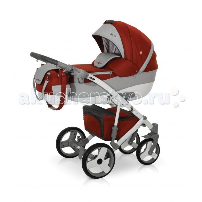 Коляска Bello Babies Pico 3 в 1Pico 3 в 1Коляска Bello Babies Pico 3 в 1 сочетающая в себе одновременно легкость управления, безопасность, стиль и максимальный комфорт.  Люлька: Легко устанавливается на раму коляски Рекомендована для детей от рождения и до 7-8 месяцев Капюшон у люльки регулируется Наклона спинки люльки также можно регулировать Утепленный чехол на ножки с высоким козырьком, который надежно защитит Вашего ребенка от непогоды, ветра и холода Непродуваемое пластиковое дно люльки Окошко в капюшоне со встроенной москитной сеткой Внутренняя отделка люльки и чехол матрасика изготовлены из гипоаллергенной ткани Удобная ручка для переноса люльки Прогулочный блок: Большой и просторный прогулочный блок можно установить как лицом к маме, так и наоборот Чтобы малышу было наиболее комфортно, спинка регулируется до наклона лежа. Поэтому ребенку будет удобно гулять в коляске и спать в ней. Для безопасности в коляске предусмотрены ремни безопасности и мягкий защитный бампер, который легко снимается. Наклон спинки в 4х положениях Подножка регулируется по высоте Автокресло: Рекомендовано для детей от рождения и до 10 месяцев Автокресло поможет безопасно перевозить малыша в автомобиле, а чехол и капюшон в комплекте не позволят замерзнуть малышу или перегреться под солнцем. Трехточечные ремни безопасности с мягкими накладками Дополнительный внутренний вкладыш для самых маленьких пассажиров Автокресло легко устанавливается на раму коляски Рама: Рама коляски выполнена из легкого и прочного алюминия. Пружинная амортизация с возможностью регулировки жесткости Регулируемая по высоте родительская ручка Легко складывается, при этом пружинная амортизация очень прочная. Коляска маневренная, легко управляемая Передние колеса меньшего диаметра поворотные с фиксаторами А большие задние колеса позволят ездить коляске по самым труднопроходимым местам. Пневмоколеса легко снимаются В большой и просторной корзине на шасси можно сложить необходимые на прогулке игрушки и вещи. Застегиваетс