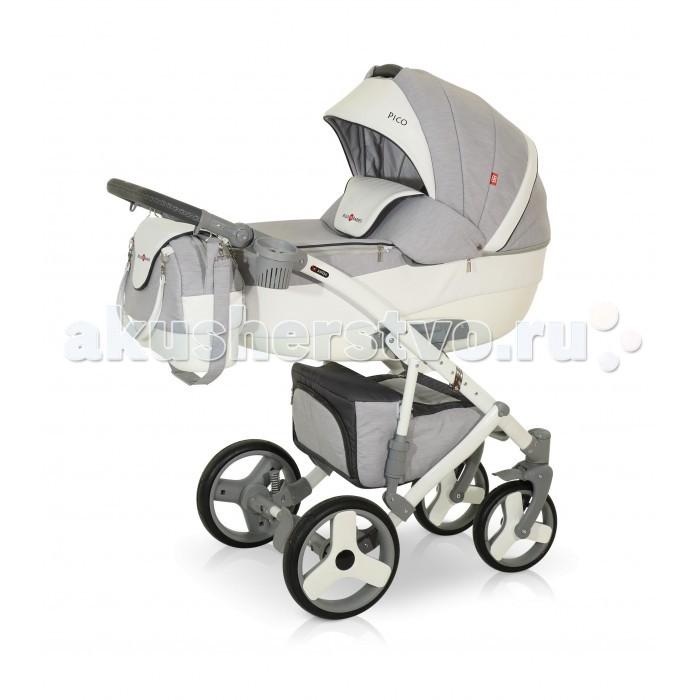 Коляска Bello Babies Pico 3 в 1Pico 3 в 1Коляска Bello Babies Pico 3 в 1 сочетающая в себе одновременно легкость управления, безопасность, стиль и максимальный комфорт.  Люлька: Легко устанавливается на раму коляски Рекомендована для детей от рождения и до 7-8 месяцев Капюшон у люльки регулируется Наклона спинки люльки также можно регулировать Утепленный чехол на ножки с высоким козырьком, который надежно защитит Вашего ребенка от непогоды, ветра и холода Непродуваемое пластиковое дно люльки Окошко в капюшоне со встроенной москитной сеткой Внутренняя отделка люльки и чехол матрасика изготовлены из гипоаллергенной ткани Удобная ручка для переноса люльки Прогулочный блок: Большой и просторный прогулочный блок можно установить как лицом к маме, так и наоборот Чтобы малышу было наиболее комфортно, спинка регулируется до наклона лежа. Поэтому ребенку будет удобно гулять в коляске и спать в ней. Для безопасности в коляске предусмотрены ремни безопасности и мягкий защитный бампер, который легко снимается. Наклон спинки в 4х положениях Подножка регулируется по высоте Автокресло: Рекомендовано для детей от рождения и до 10 месяцев Автокресло поможет безопасно перевозить малыша в автомобиле, а чехол и капюшон в комплекте не позволят замерзнуть малышу или перегреться под солнцем. Трехточечные ремни безопасности с мягкими накладками Доплолнительный внутренний вкладыш для самых маленьких пассажиров Автокоресло лоегко устанавливается на раму коляски Рама: Рама коляски выполнена из легкого и прочного алюминия. Пружинная амортизация с возможностью регулировки жесткости Регулируемая по высоте родительская ручка Легко складывается, при этом пружинная амортизация очень прочная. Коляска маневренная, легко управляемая Передние колеса меньшего диаметра поворотные с фиксаторами А большие задние колеса позволят ездить коляске по самым труднопроходимым местам. Пневмоколеса легко снимаются В большой и просторной корзине на шасси можно сложить необходимые на прогулке игрушки и вещи. Застегива