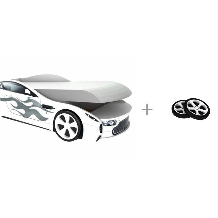 Кровати для подростков Бельмарко с подъемным механизмом Бондмобиль и комплект пластиковых колес для кровати-машины 2 шт.