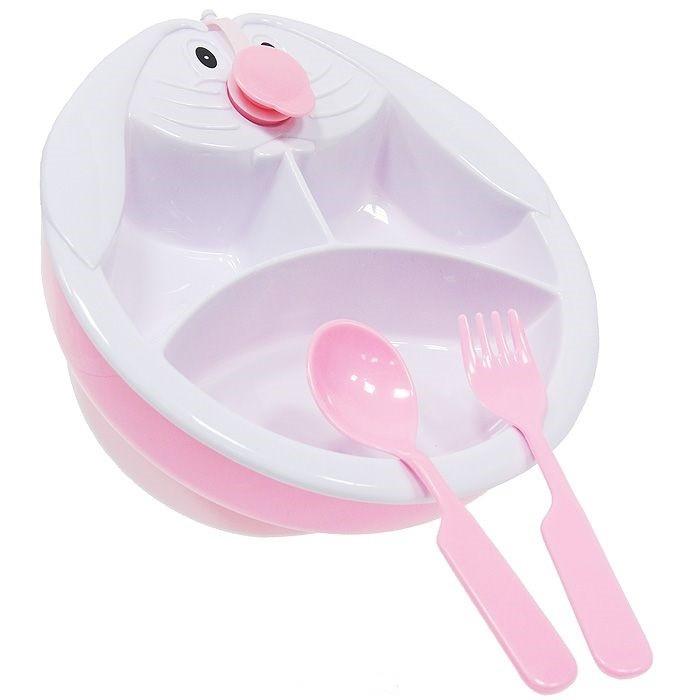 Посуда Сказка Набор для кормления тарелка с подогревом на присоске с ложкой и вилкой посуда lubby тарелка на присоске с ложкой и вилкой с 6 мес 250 мл