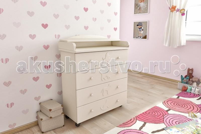 Комод Берегиня Домашние любимцы пеленальный (4 ящика)