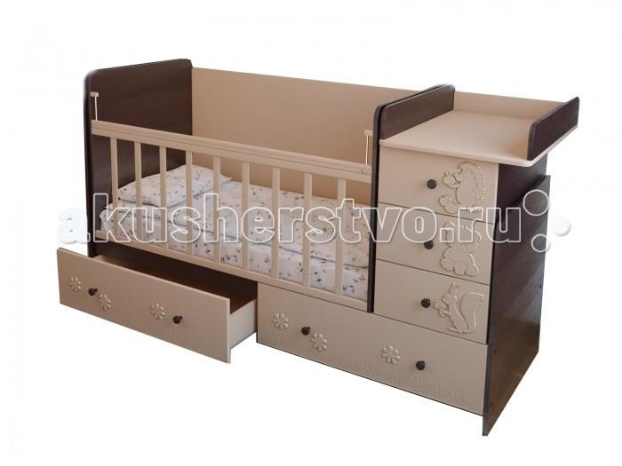Кроватка-трансформер Forest Лесная сказка маятник поперечный