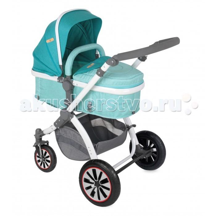 Коляска-трансформер Bertoni (Lorelli) Aurora с надувными колесамиAurora с надувными колесамиКоляска-трансформер Bertoni (Lorelli) Aurora с надувными колесами . Удобная и элегантная коляска для детей. Представляет собой сиденье, которое превращается в люльку и наоборот. Оно имеет жесткий каркас из металла. Расширяясь с отстегиванием липучек, превращается в люльку с твердым дном. В сиденье вкладывается двусторонний вкладыш с разными принтами. На нем есть отверстия для ремней. Капюшон с металлической вставкой не падает при порывах ветра и регулировании. Накидка пристегивается к сиденью на молнии, плотно прилегает к его краям без люфтов.  Надувные колеса на протекторах обладают хорошей проходимостью по разным дорожным покрытиям. Прочные диски защищают конструкцию колеса от повреждений и налипания снега. Задние колеса с подвеской объединены тормозной педалью-рычагом. Он обеспечивает безопасные остановки во время прогулки. Передние колеса поворотные, имеют внешние амортизаторы-пружины. Ручка настраивается по высоте нажатием боковых клавиш. Алюминиевая рама складывается по принципу книжки.  Особенности:   Пятиточеченые ремни безопасности  Съемный бампер. Регулируемый козырек и спинка Регулировка подножки Передние поворотные колеса Прогулочный блок 2 положения (к себе или от себя лицом) Диаметр переднего колеса-19см, заднего-29см.  Ручка коляски регулируется по высоте В комплекте: Чехол на ножки, сумка для мамы, корзина для покупок, адаптеры для автокресла 0-13 кг.<br>